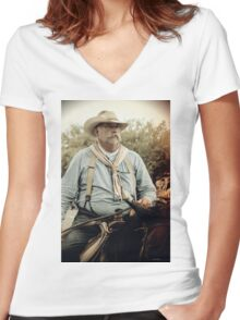 Cattle Drive 22 Women's Fitted V-Neck T-Shirt