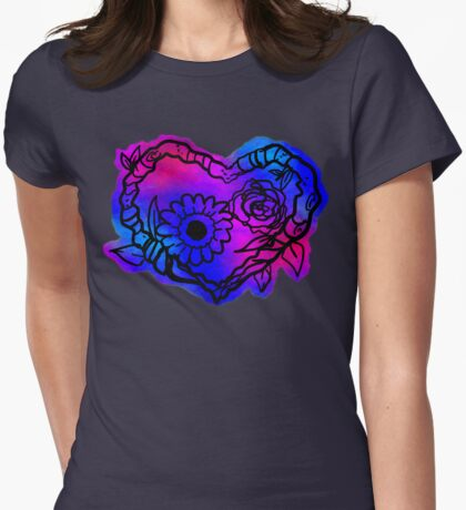 Pixel Tie-Dye Nature Love Wreath Womens Fitted T-Shirt