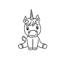 unicorn foal unicorn sweet cute sitting comic cartoon pony horse pferdchen kawaii child girl baby Photographic Print