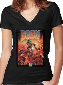 DOOM Original Cover Women's Fitted V-Neck T-Shirt