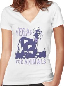 VEGAN FOR ANIMALS Women's Fitted V-Neck T-Shirt