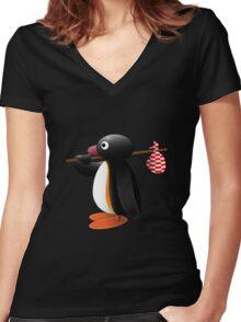 Pingu the Penguin Women's Fitted V-Neck T-Shirt