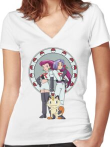 Team Rocket Nouveau Women's Fitted V-Neck T-Shirt