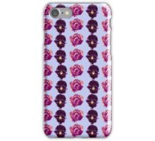 Purple and yellow pansies and pink roses blue background iPhone Case/Skin