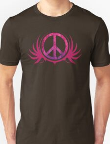 Peace Sign with Grunge Texture and Wings Unisex T-Shirt