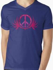 Peace Sign with Grunge Texture and Wings Mens V-Neck T-Shirt