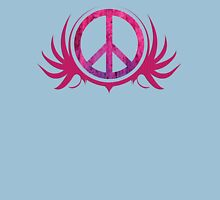 Peace Sign with Grunge Texture and Wings Womens Fitted T-Shirt