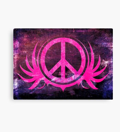 Peace Sign with Grunge Texture and Wings Canvas Print