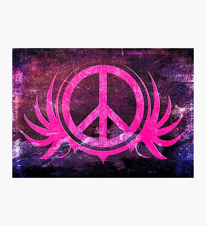 Peace Sign with Grunge Texture and Wings Photographic Print