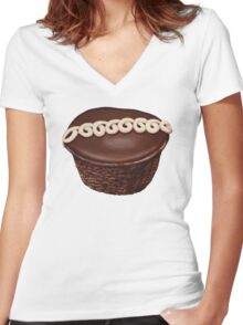 Hostess Cupcake Pattern Women's Fitted V-Neck T-Shirt