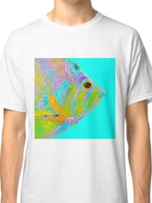 Tropical Fish painting on turquoise background Classic T-Shirt