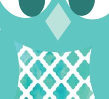 Teal Pattern Owl Sticker