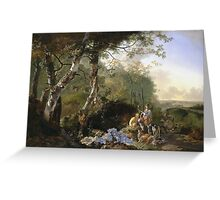 Vintage famous art - Adam Pynacker - Landscape With Sportsmen And Games 1665 Greeting Card