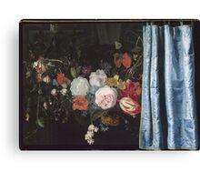 Adriaen Van Der Spelt  - Still Life With A Flower Garland And A Curtain 1658. Still life with flowers: still life with flowers, flowers, blossom, nature, botanical, floral , flora, wonderful flowers Canvas Print