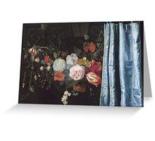 Adriaen Van Der Spelt  - Still Life With A Flower Garland And A Curtain 1658. Still life with flowers: still life with flowers, flowers, blossom, nature, botanical, floral , flora, wonderful flowers Greeting Card