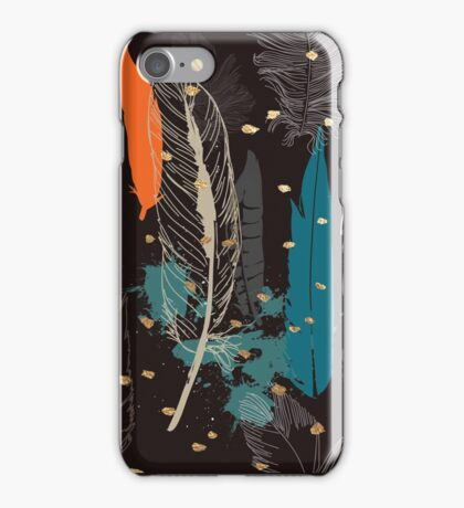 Feathers Orange/Teal Gold Specks iPhone Case/Skin