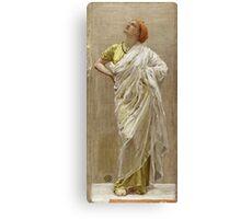 Albert Joseph Moore - Study For Birds. Woman portrait: sensual woman, beautiful dress, female style, charm , delicate , diaphanous,, tissue, garments, figure , draped, erotic pose Canvas Print