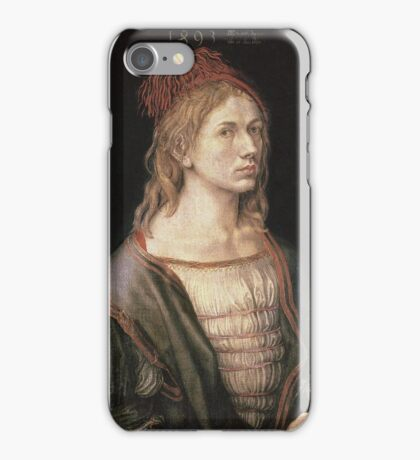 Albrecht Durer - Autoportrait 1493. Man portrait:  Durer,  man, self-portrait, costume, curled, hair, hairstyle, hat , dandy, fashion, medieval costume, painter iPhone Case/Skin