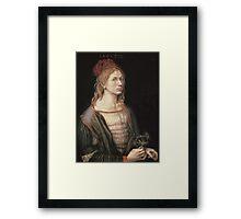 Vintage famous art - Albrecht Durer - Autoportrait 1493 Framed Print