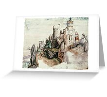 Albrecht Durer - Fortified Castle. House landscape: Castle,  Nuremberg,  church,  churches,  city,  city walls,  city view, lock, travel , panorama, tourism  Greeting Card