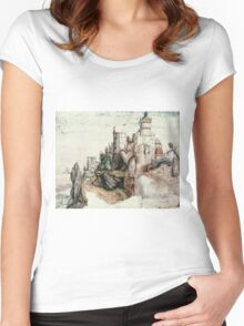 Albrecht Durer - Fortified Castle. House landscape: Castle,  Nuremberg,  church,  churches,  city,  city walls,  city view, lock, travel , panorama, tourism  Women's Fitted Scoop T-Shirt