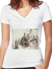 Albrecht Durer - Fortified Castle. House landscape: Castle,  Nuremberg,  church,  churches,  city,  city walls,  city view, lock, travel , panorama, tourism  Women's Fitted V-Neck T-Shirt