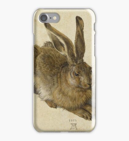 Albrecht Durer - Hare 1502. Young hare painting: cute hare,  hares,  rabbits,  animals,  bunnies,  realistic ,  wild,  animal,  rabbit,  wild animals,  fur  iPhone Case/Skin