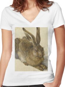 Albrecht Durer - Hare 1502. Young hare painting: cute hare,  hares,  rabbits,  animals,  bunnies,  realistic ,  wild,  animal,  rabbit,  wild animals,  fur  Women's Fitted V-Neck T-Shirt