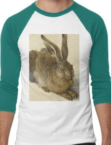 Albrecht Durer - Hare 1502. Young hare painting: cute hare,  hares,  rabbits,  animals,  bunnies,  realistic ,  wild,  animal,  rabbit,  wild animals,  fur  Men's Baseball ¾ T-Shirt