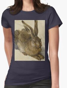 Albrecht Durer - Hare 1502. Young hare painting: cute hare,  hares,  rabbits,  animals,  bunnies,  realistic ,  wild,  animal,  rabbit,  wild animals,  fur  Womens Fitted T-Shirt