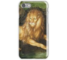 Albrecht Durer - Lion. Cat portrait: king,  leo,  lion,  lioness,  mane,  powerful,  big,  cat,  african,  animal,  mane iPhone Case/Skin