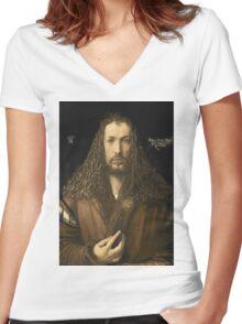 Vintage famous art - Albrecht Durer - Self Portrait Women's Fitted V-Neck T-Shirt
