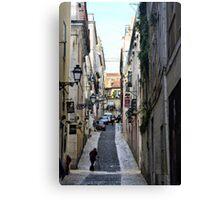 A cobbled street in Lisbon, Portugal Canvas Print