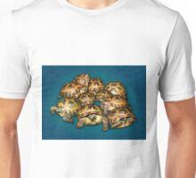 Greek Tortoise Group on Gray-Blue Background Unisex T-Shirt