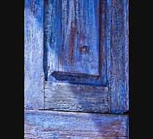 Old blue wooden door with shadow Unisex T-Shirt