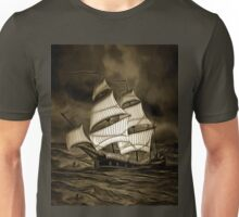 An old style digital painting of a Sailing Battleship Unisex T-Shirt