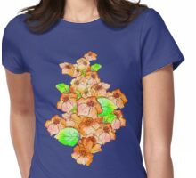 Digital Collage of Watercolour Flowers Womens Fitted T-Shirt