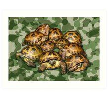Greek Tortoise Group on Green Camo Art Print