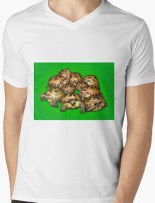 Greek Tortoise Group on Bright Green Background Mens V-Neck T-Shirt