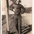 Man in leather jacket and hat by Vintaged
