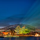 Vivid Sunset - Sydney Opera House and Harbour Bridge by Erik Schlogl