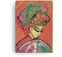 Vintage famous art - Alexei Jawlensky  - Young Girl With A Flowered Hat Canvas Print