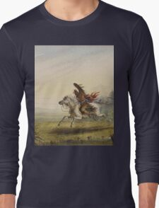 Vintage famous art - Alfred Jacob Miller  - Beating A Retreat Long Sleeve T-Shirt