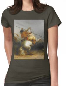Vintage famous art - Alfred Jacob Miller  - Buffalo Hunt Womens Fitted T-Shirt