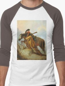 Vintage famous art - Alfred Jacob Miller  - The Scalplock Men's Baseball ¾ T-Shirt