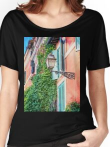 Traditional italian alley with old streetlamp Women's Relaxed Fit T-Shirt