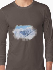 Aerial Photo New Zealand Snow White Covered Mountains Long Sleeve T-Shirt