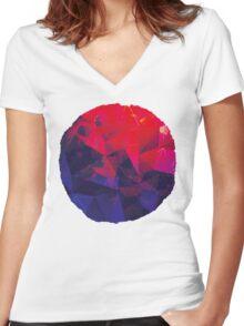 Geometric Super Moon Women's Fitted V-Neck T-Shirt
