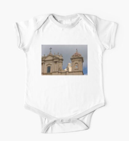A Well Placed Ray of Sunshine - Noto Cathedral Saint Nicholas of Myra Against a Cloudy Sky One Piece - Short Sleeve