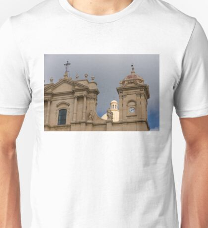 A Well Placed Ray of Sunshine - Noto Cathedral Saint Nicholas of Myra Against a Cloudy Sky Unisex T-Shirt